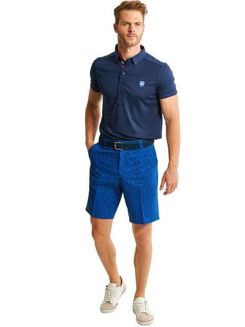 Bunker Mentality Kade Electric Blue Printed Paisley Pattern Mens Golf Shorts - Model with Frank Polo Shirt
