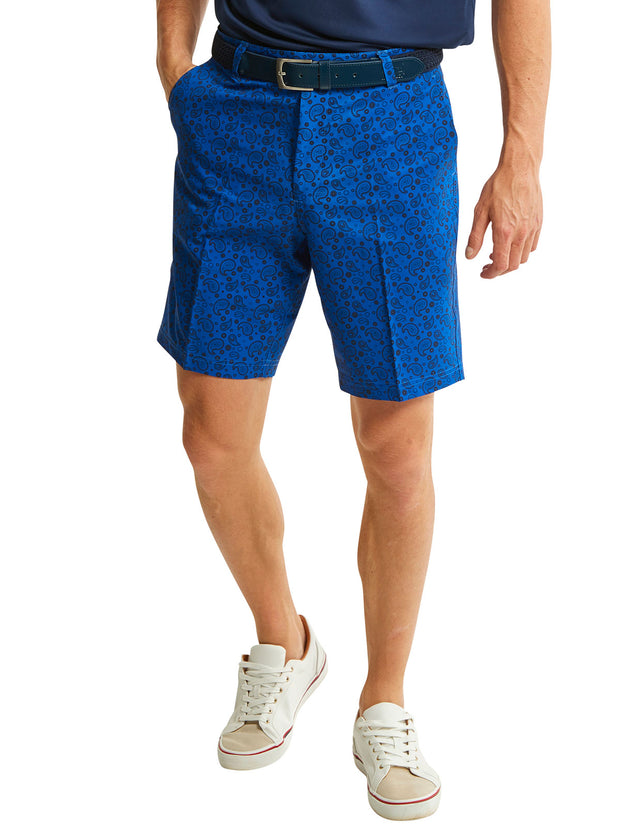Bunker Mentality Kade Electric Blue Printed Paisley Pattern Mens Golf Shorts - Model