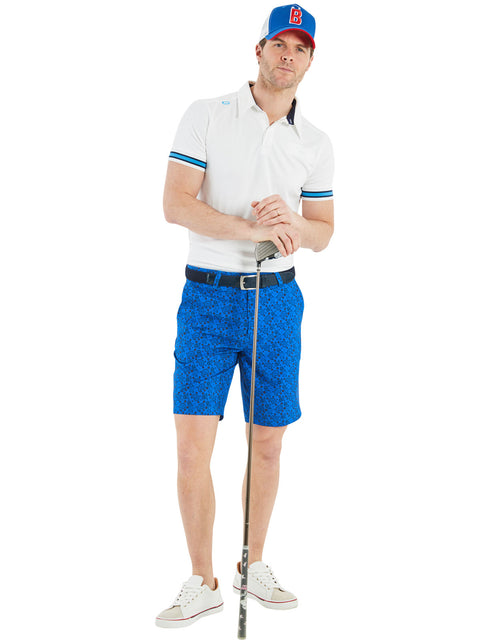 Bunker Mentality Cmax White Mens Golf Shirt with contrast blue tipping - Model Wearing Blue Kade Paisley Shorts