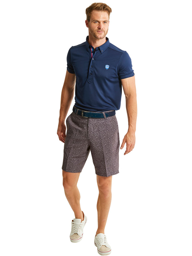 Bunker Mentality Kade Grey Printed Paisley Pattern Mens Golf Shorts - Model with Frank Polo