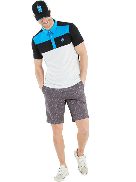 Bunker Mentality Kade Grey Printed Paisley Pattern Mens Golf Shorts - Model with White Leon Polo Shirt
