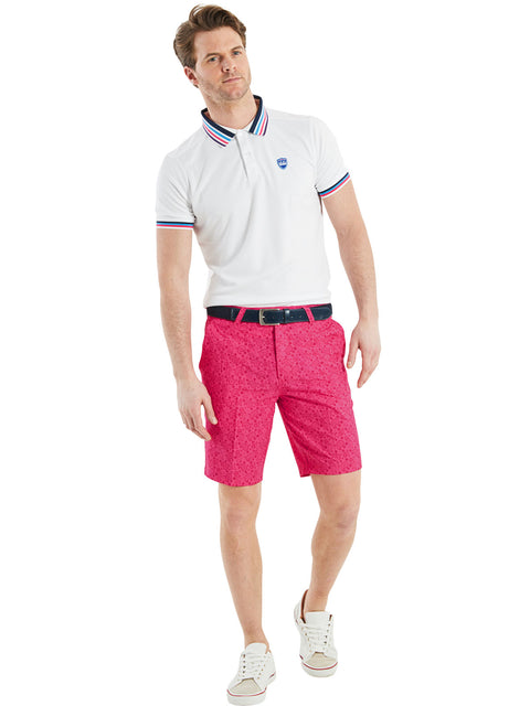 Bunker Mentality Kade Pink Printed Paisley Pattern Mens Golf Shorts - Model with White Multi Stripe Polo Shirt