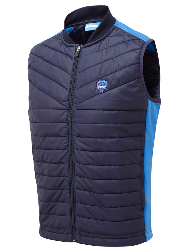 Bunker Mentality Navy Blue Kai Clo Insulated Thermal Padded Mens Golf Wind Gilet - Side