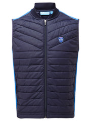 Bunker Mentality Navy Blue Kai Clo Insulated Thermal Padded Mens Golf Wind Gilet - Front