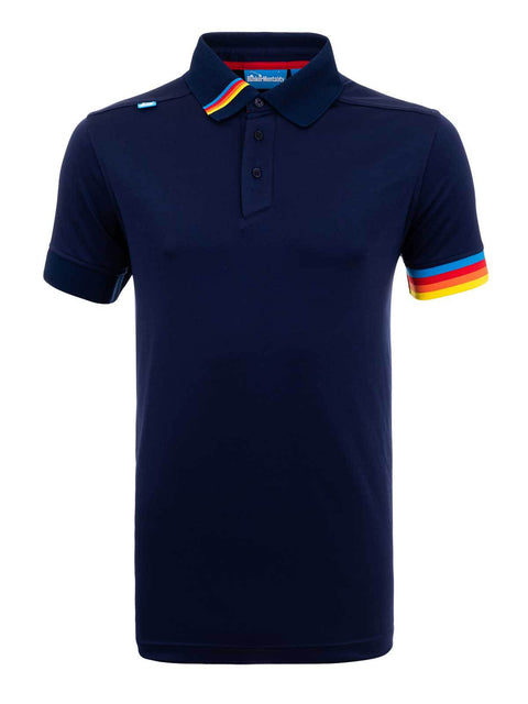 Bunker Mentality Kobi Navy Mens Golf Polo Shirt with Multi Colour Left Cuff and Detail on Collar - Front