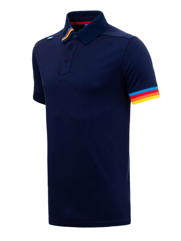Bunker Mentality Kobi Navy Mens Golf Polo Shirt with Multi Colour Left Cuff and Detail on Collar - Side