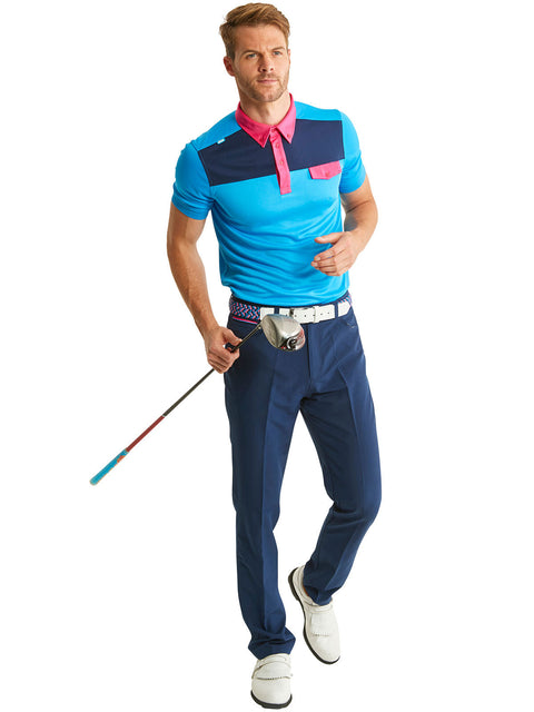 Bunker Mentality Kruze Blue Mens Golf Polo Shirt with Navy Golf Trousers
