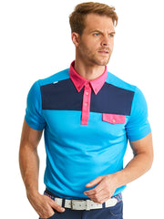 Bunker Mentality Kruze Blue Mens Golf Polo Shirt with Pink Pocket Flap - Model