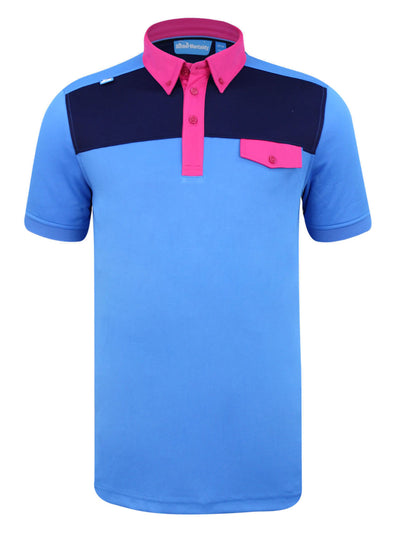 Bunker Mentality Kruze Blue Mens Golf Polo Shirt with Pink Pocket Flap