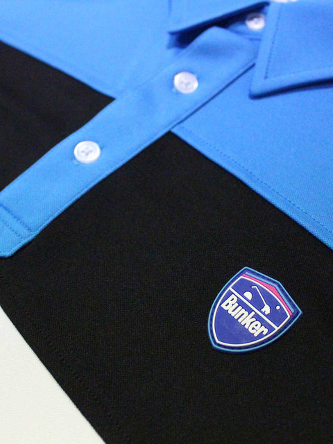 Bunker Mentality Cmax Leon Mens Golf Polo Shirt with Deep Bunker Blue and Black Panels - Close Up