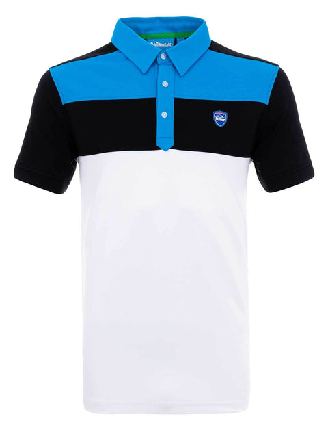 Bunker Mentality Cmax Leon Mens Golf Polo Shirt with Deep Bunker Blue and Black Panels on Top Quarter - Front