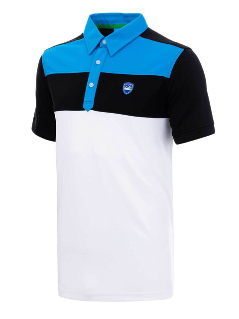 Bunker Mentality Cmax Leon Mens Golf Polo Shirt with Deep Bunker Blue and Black Panels on Top Quarter - Side