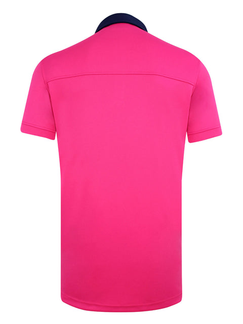 Bunker Mentality Cmax Leon Mens Golf Polo Shirt with Solid Pink Back Panel - Back
