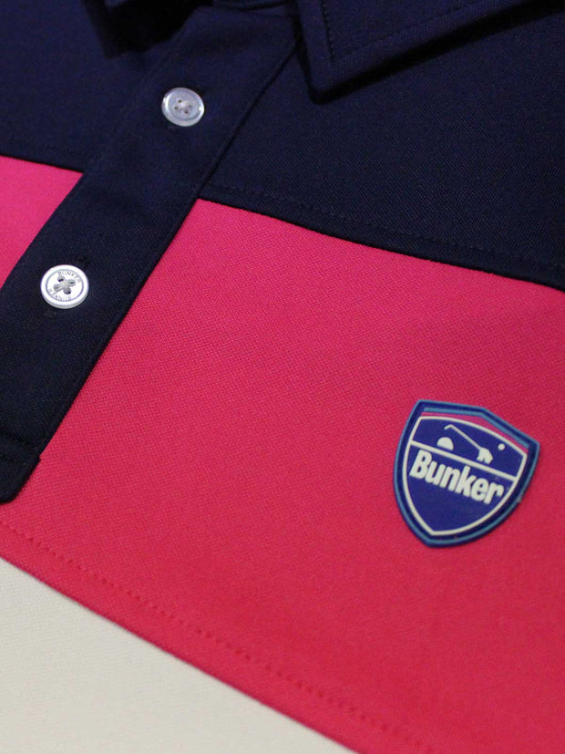 Bunker Mentality Cmax Leon Mens Golf Polo Shirt with Deep Pink White and Navy Panels on Top Quarter - Close Up