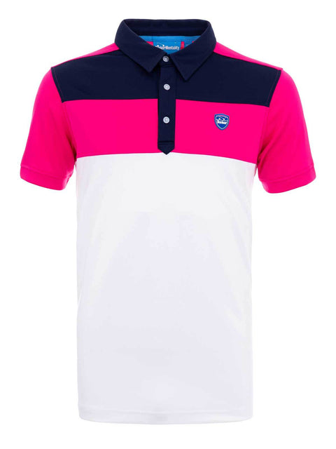 Bunker Mentality Cmax Leon Mens Golf Polo Shirt with Deep Pink White and Navy Panels on Top Quarter - Front