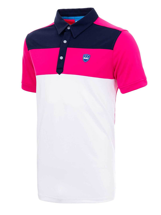 Bunker Mentality Cmax Leon Mens Golf Polo Shirt with Deep Pink White and Navy Panels on Top Quarter - Side