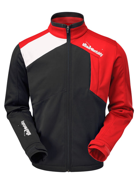 Bunker Mentality Mancia Black Red Mens Windproof Golf Jacket - Front
