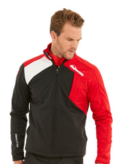 Bunker Mentality Mancia Black Red Mens Windproof Golf Jacket - Front Model