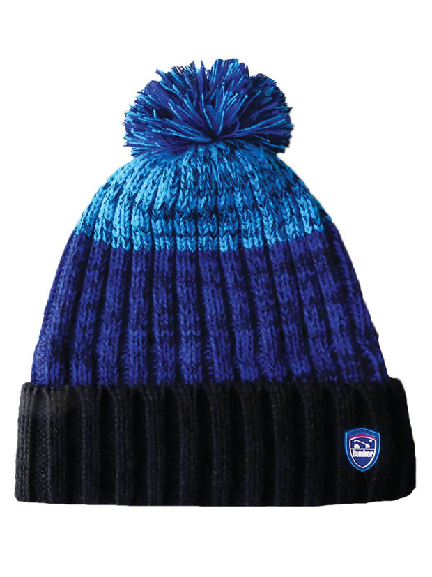 Bunker Mentality Blue and Black Marl Stripe Mens Golf Bobble Hat