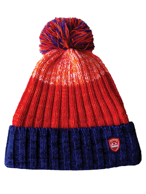 Bunker Mentality Blue and Orange Stripe Mens Golf Bobble Hat