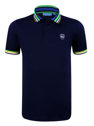 Bunker Mentality navy Blue Mens Golf Polo Shirt with Four Pinstripe Contrast tipping on sleeves and collar - Front