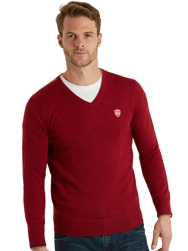 Bunker Mentality Red 100% Merino Wool V Neck Mens Golf Sweater - Model