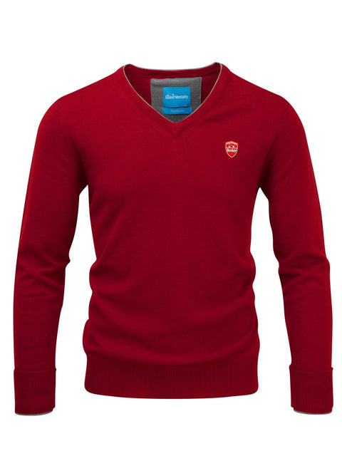Bunker Mentality Red 100% Merino Wool V Neck Mens Golf Sweater - Front