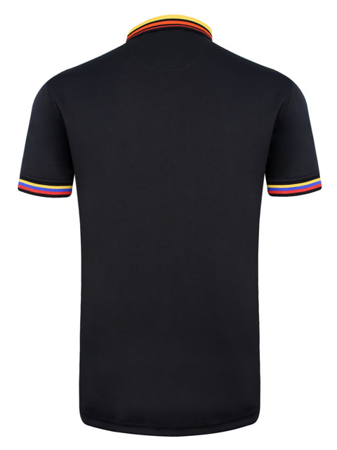 Bunker Mentality Cmax Black Mens Golf Polo Shirt with Red Yellow Blue Tipped Collar and Cuffs - Back