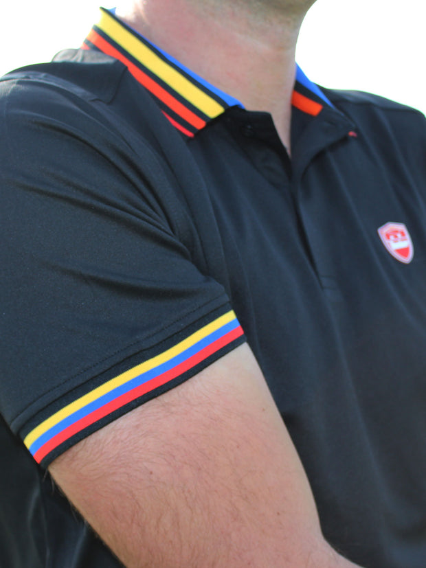 Bunker Mentality Cmax Black Mens Golf Polo Shirt with Red Yellow Blue Tipped Collar and Cuffs - Sleeve