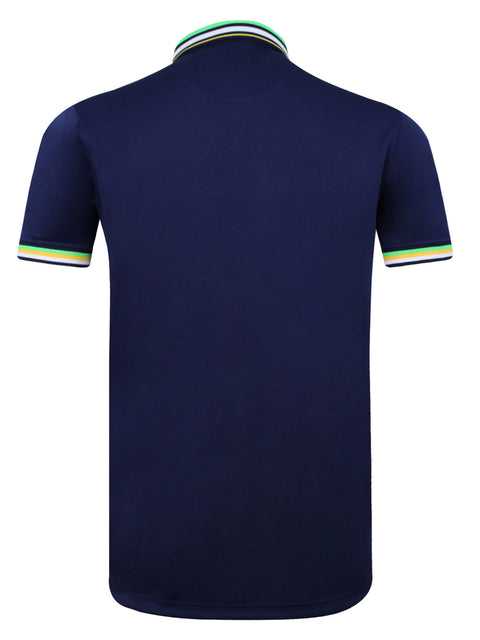 Bunker Mentality navy Blue Mens Golf Polo Shirt with Four Pinstripe Contrast tipping on sleeves and collar - Back