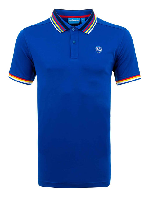 Bunker Mentality Electric Blue Mens Golf Polo Shirt with Four Pinstripe Contrast tipping on sleeves and collar - front