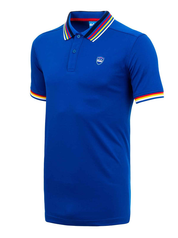 Bunker Mentality Electric Blue Mens Golf Polo Shirt with Four Pinstripe Contrast tipping on sleeves and collar - side
