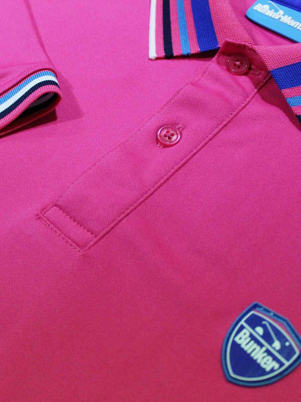 Bunker Mentality Pink Mens Golf Polo Shirt with Four Pinstripe Contrast tipping on sleeves and collar - Close Up