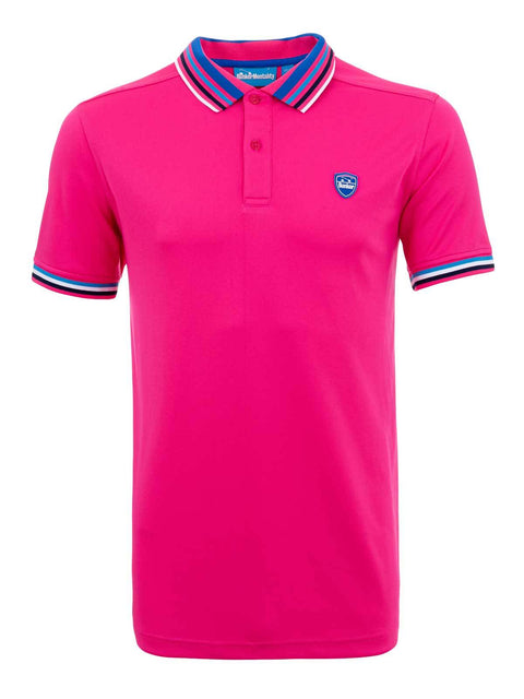 Bunker Mentality Pink Mens Golf Polo Shirt with Four Pinstripe Contrast tipping on sleeves and collar - Front