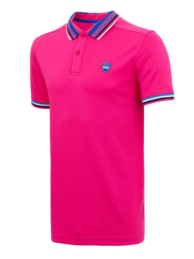 Bunker Mentality Pink Mens Golf Polo Shirt with Four Pinstripe Contrast tipping on sleeves and collar - Side