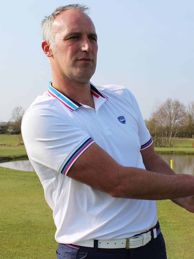 Bunker Mentality Cmax White Mens Golf Polo Shirt with Blue and Pink Tipped Collar and Cuffs - Model Front