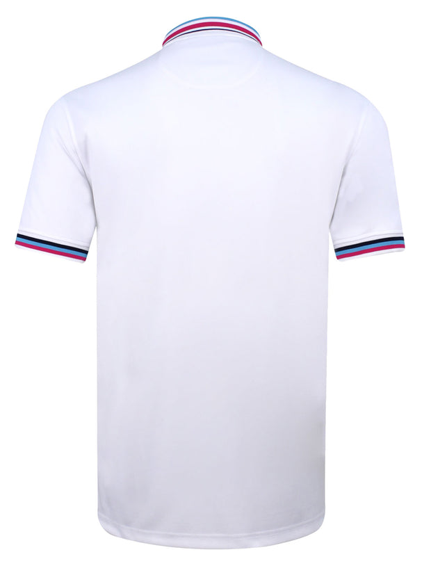 Bunker Mentality Cmax White Mens Golf Polo Shirt with Blue and Pink Tipped Collar and Cuffs - Back
