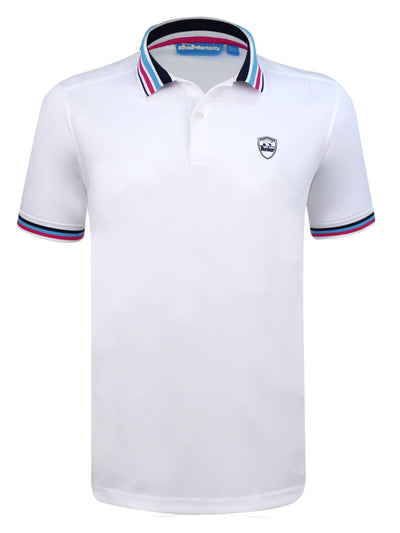 Bunker Mentality Cmax White Mens Golf Polo Shirt with Blue and Pink Tipped Collar and Cuffs - Front