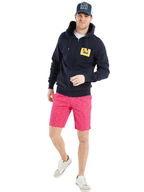 Bunker Mentality Kade Pink Printed Paisley Pattern Mens Golf Shorts - Model with Patch Navy Hoodie