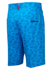 Bunker Mentality Nino Blue Printed Paisley Mens Golf Shorts - Back