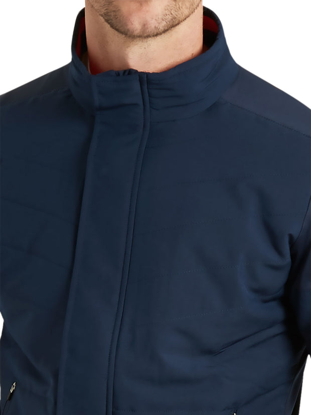 Bunker Mentality Navy Full Zip Mens Wind Proof Golf Jacket - Neck