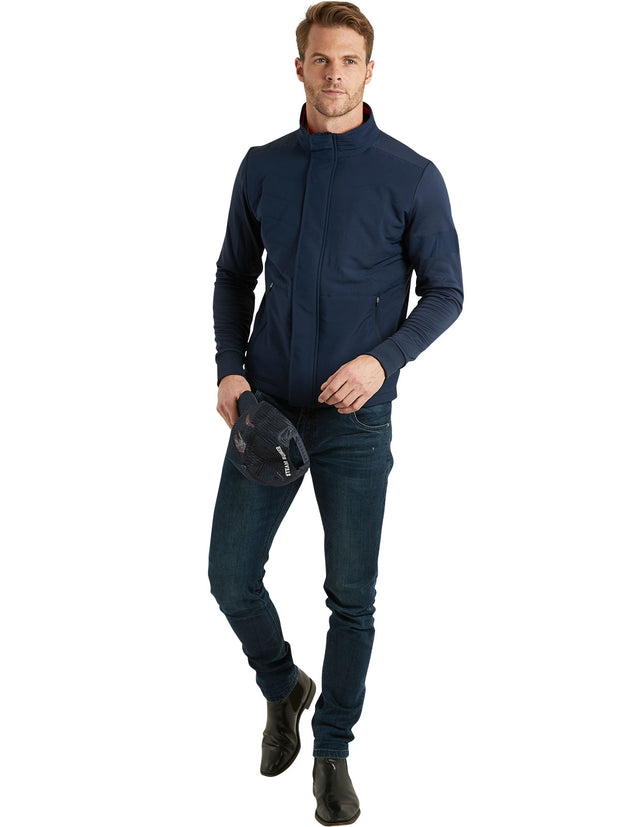 Bunker Mentality Navy Full Zip Mens Wind Proof Golf Jacket - Model in Jeans