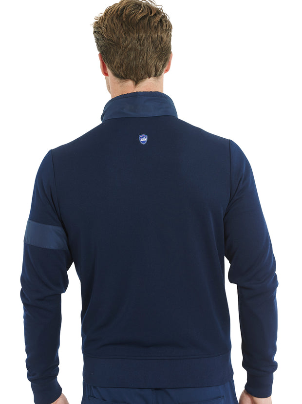 Bunker Mentality Navy Full Zip Mens Wind Proof Golf Jacket - Back