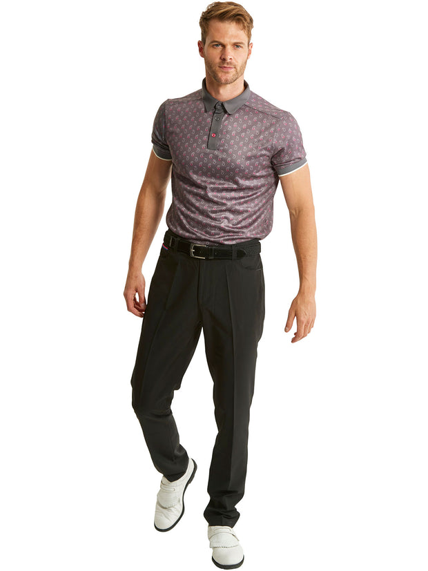 Bunker Mentality Cmax Ombre Grey Paisley Mens Golf Shirt with Black Golf Trousers