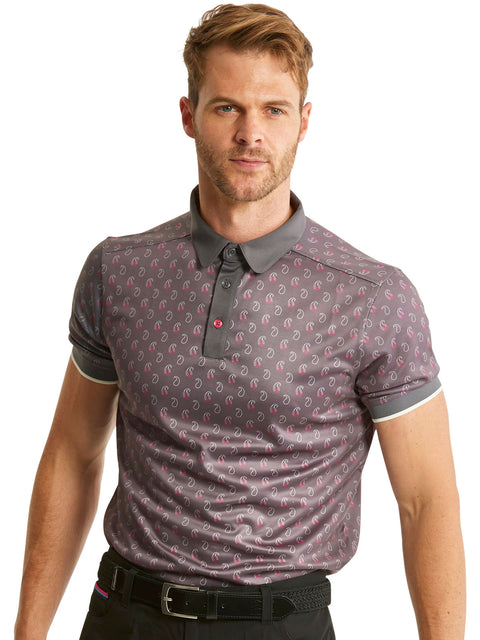 Bunker Mentality Cmax Ombre Grey Mens Golf Shirt with Paisley Printed Pattern - Model