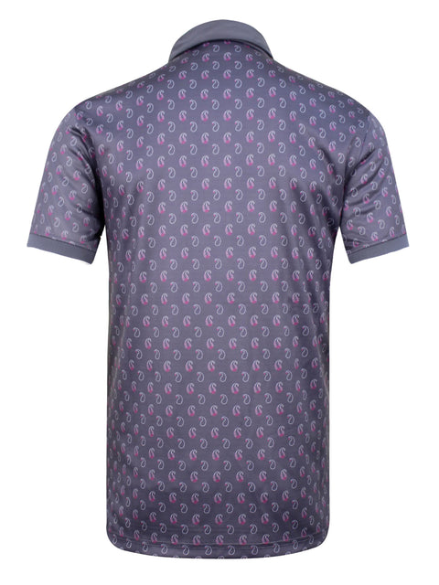Bunker Mentality Cmax Ombre Grey Mens Golf Shirt with Paisley Printed Pattern - Back