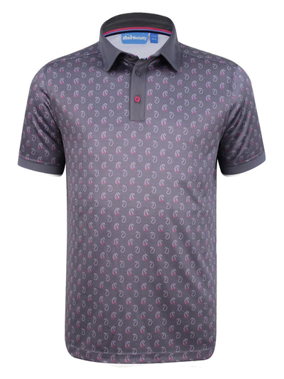 Bunker Mentality Cmax Ombre Grey Mens Golf Shirt with Paisley Printed Pattern - Front