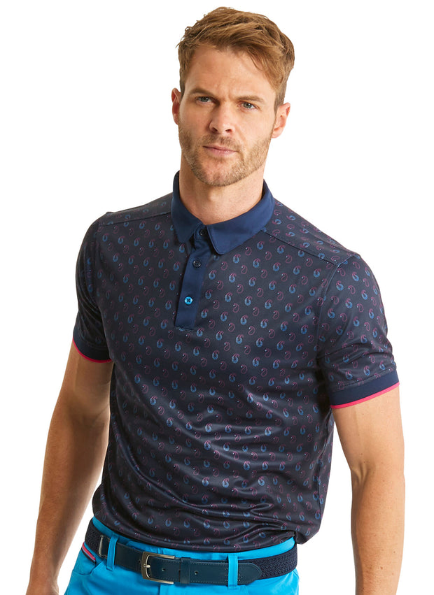 Bunker Mentality Cmax Ombre Navy Paisley Printed Mens Golf Polo Shirt - Model