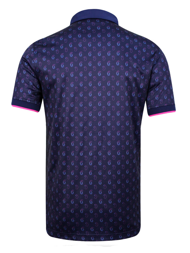 Bunker Mentality Cmax Ombre Navy Paisley Printed Mens Golf Polo Shirt - Back