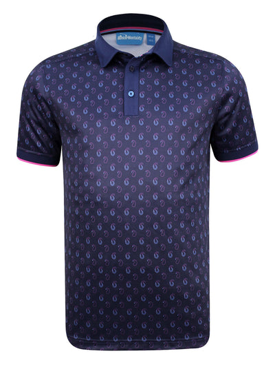 Bunker Mentality Cmax Ombre Navy Paisley Printed Mens Golf Polo Shirt - Front